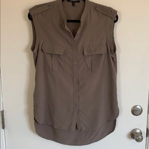 Sleeveless Button Front Blouse